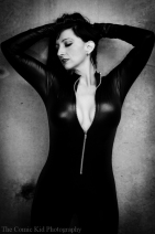Francesca Hone in catsuit. The owner of the warehouse that let me borrow the space.