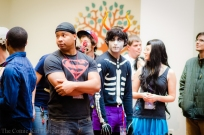 Attendees of Con Jikan prepare to play a round of cosplay chess